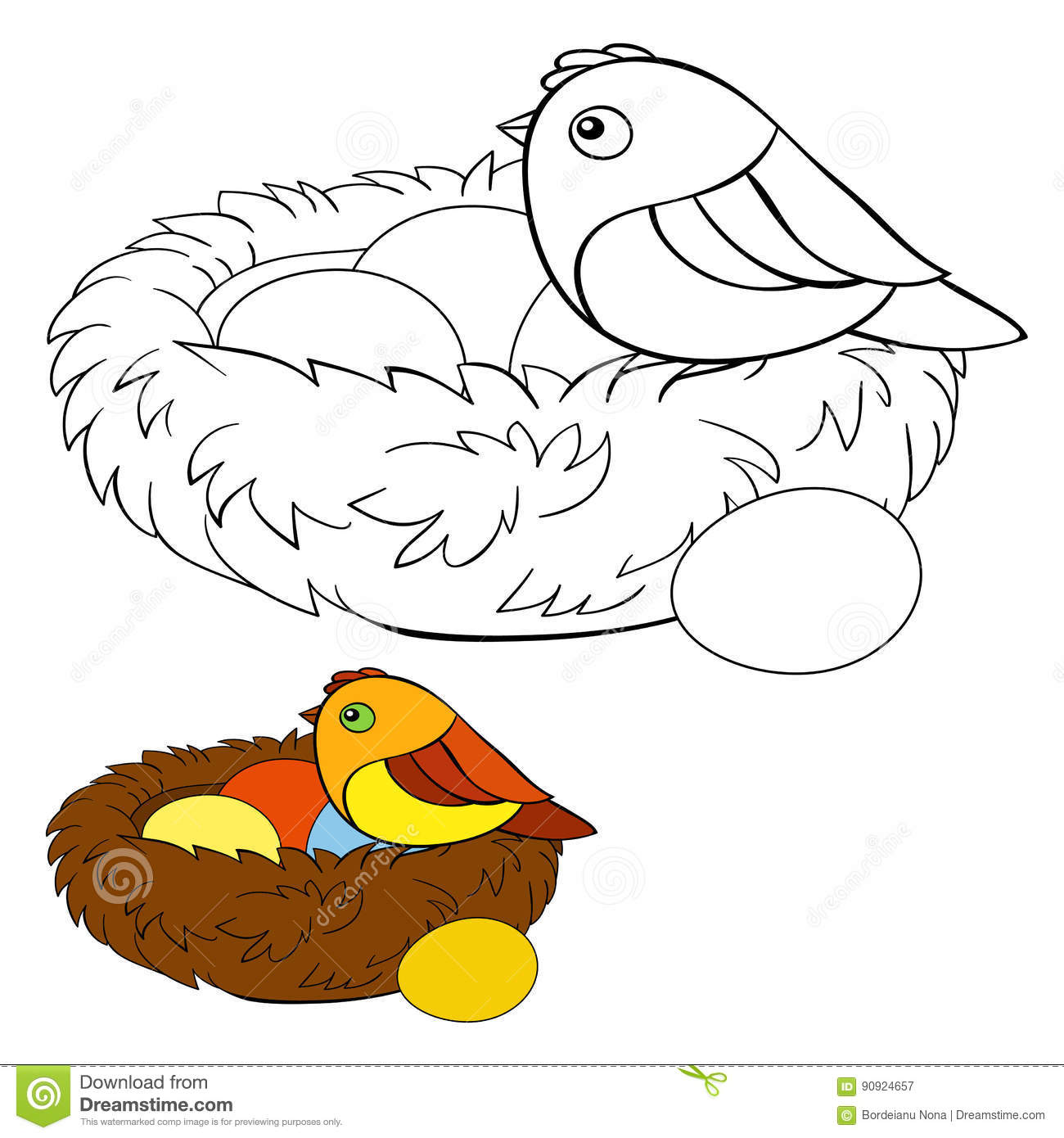 Children Coloring Page Bird Stock Vector - Illustration of wall ...