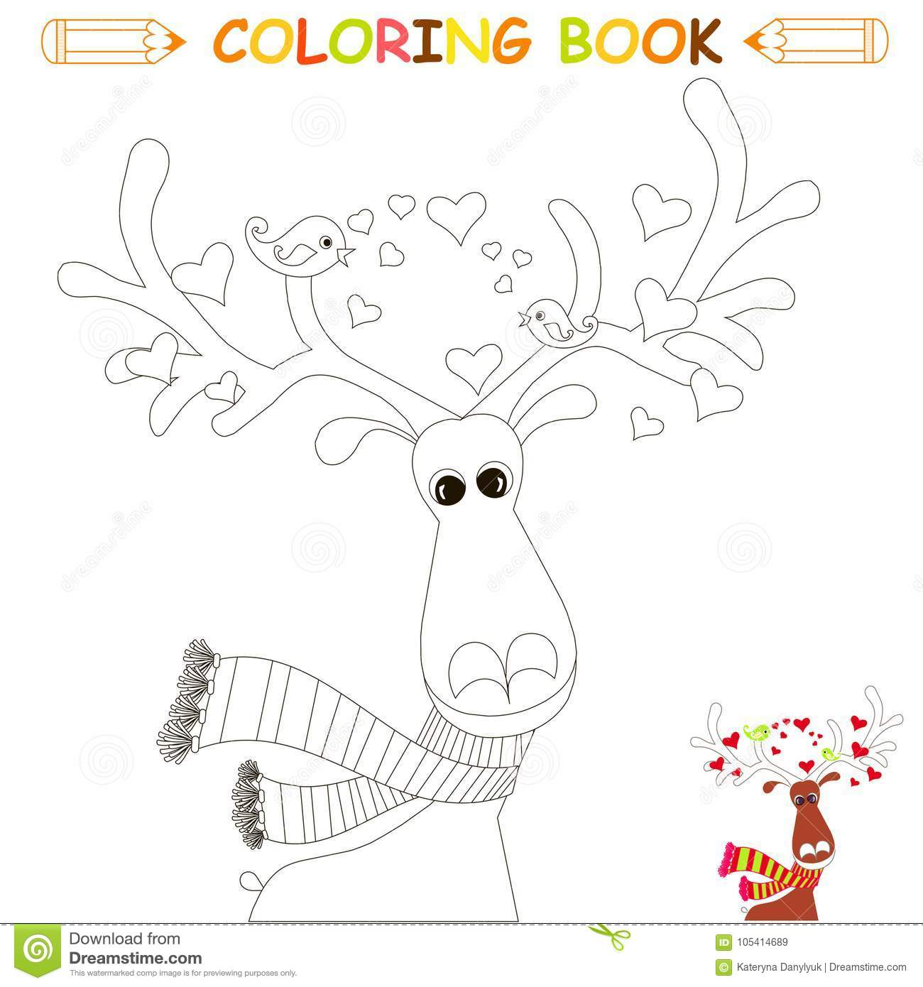 Children coloring page vector illustration cute reindeer lovebird