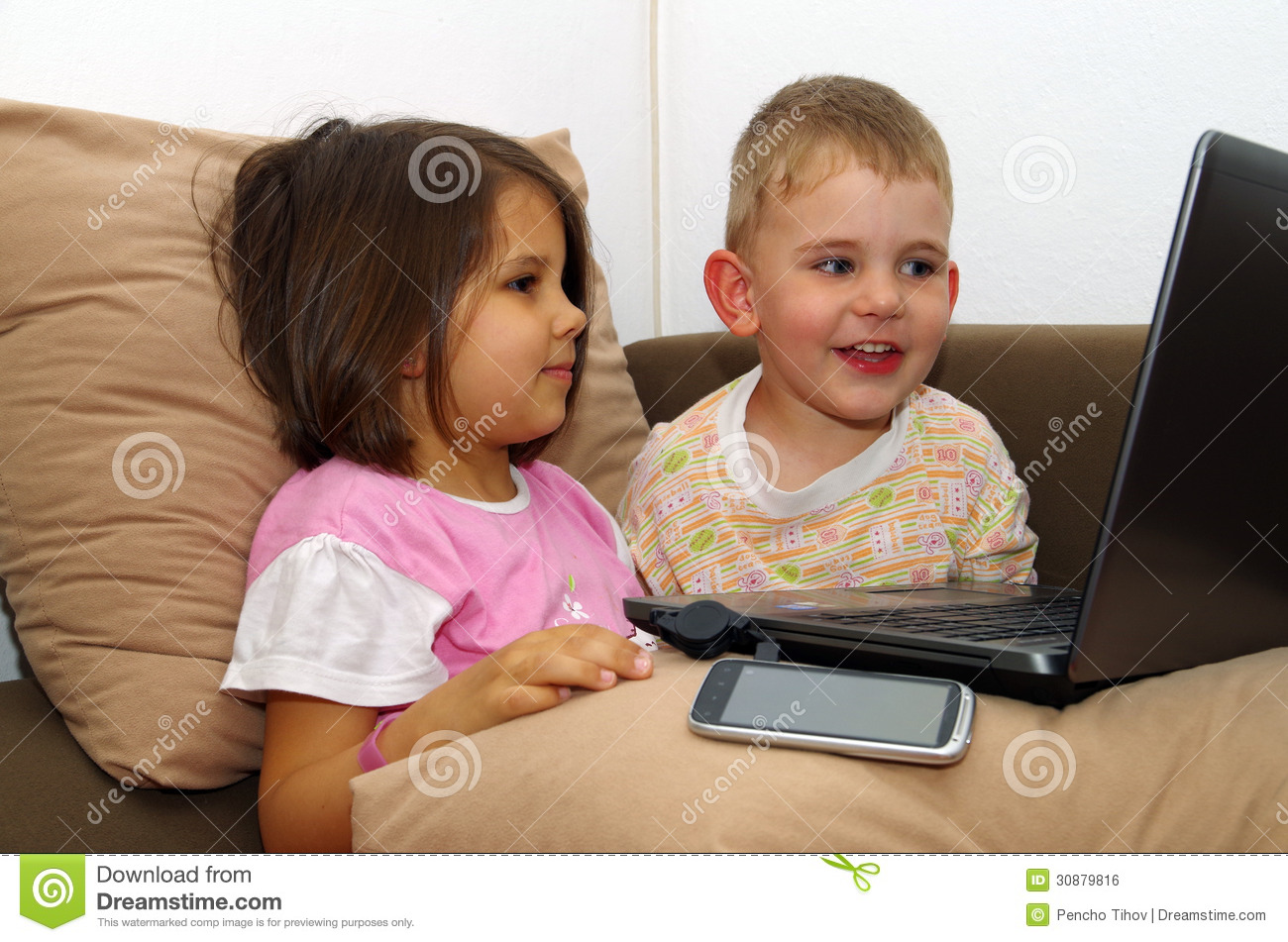 Royalty Free Stock Image: Children of the computer.