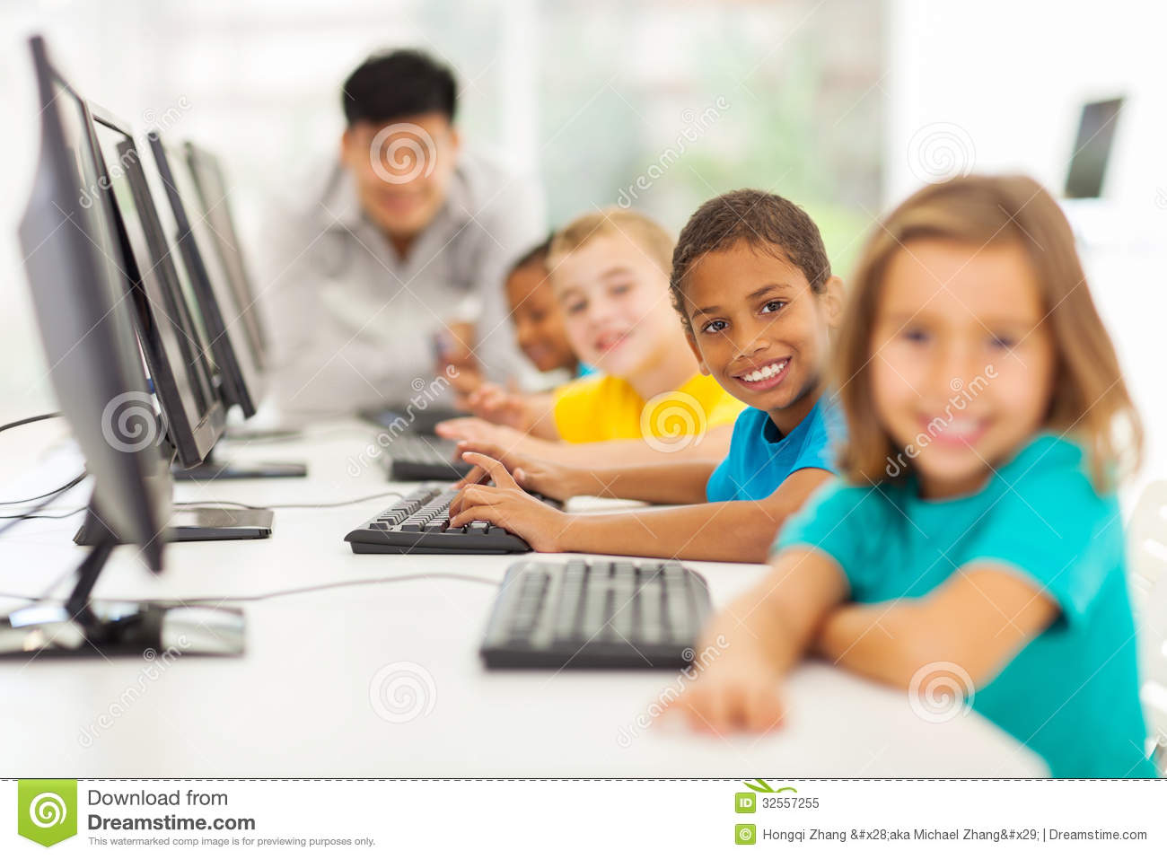 Daycare bathroom design - Children Computer Class Royalty Free Stock Photo Image