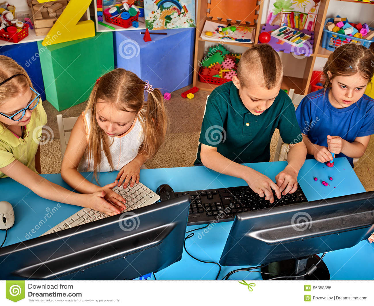 Download Children Computer Class Us For Education And Video Game. Stock Image - Image of monster, spend: 96358385