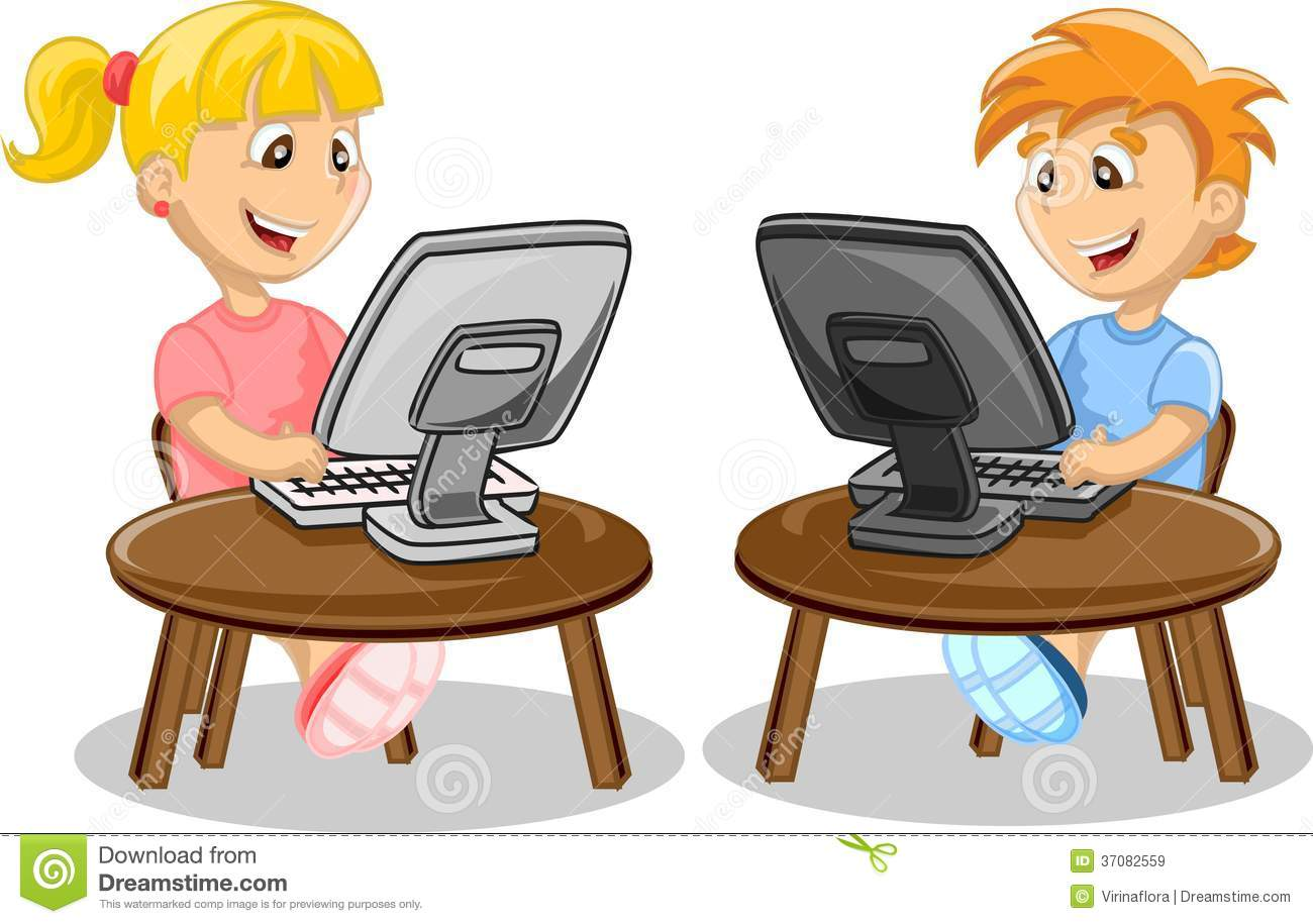 Children And Computer Vector Royalty Free Stock Images