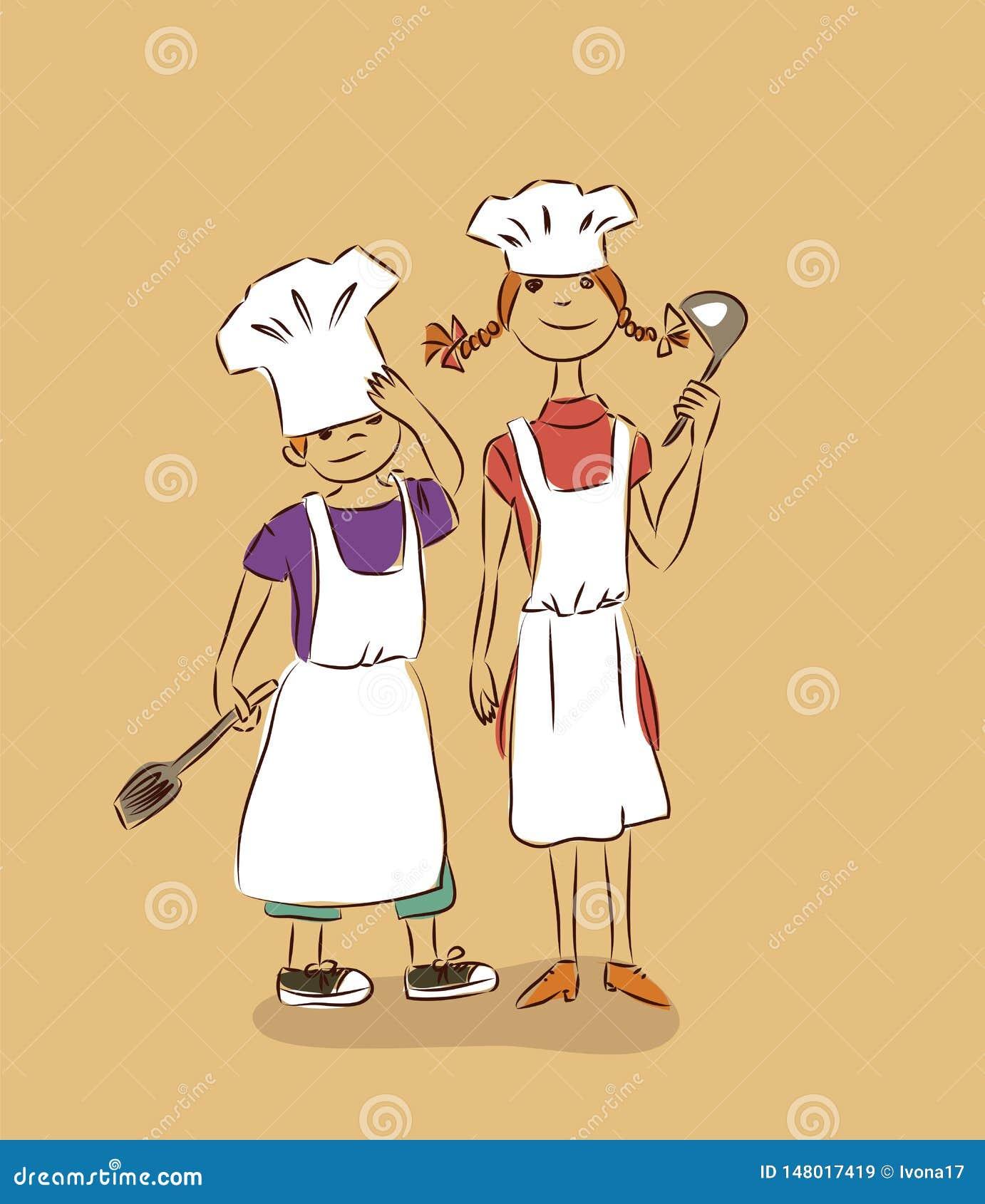 Children cook vector illustration family sketch doodle