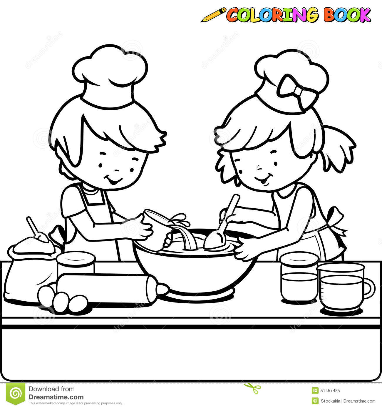 Stock Illustration Children Cooking Coloring Book Page Vector Illustration Black White Outline Image Boy Girl Kitchen Image51457485 on baking cartoon