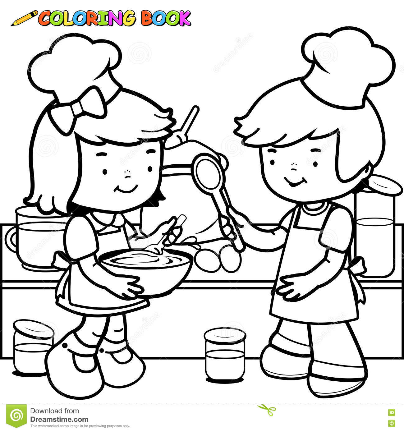 Coloring book kitchen - Royalty Free Vector Download Children Cooking Coloring Book