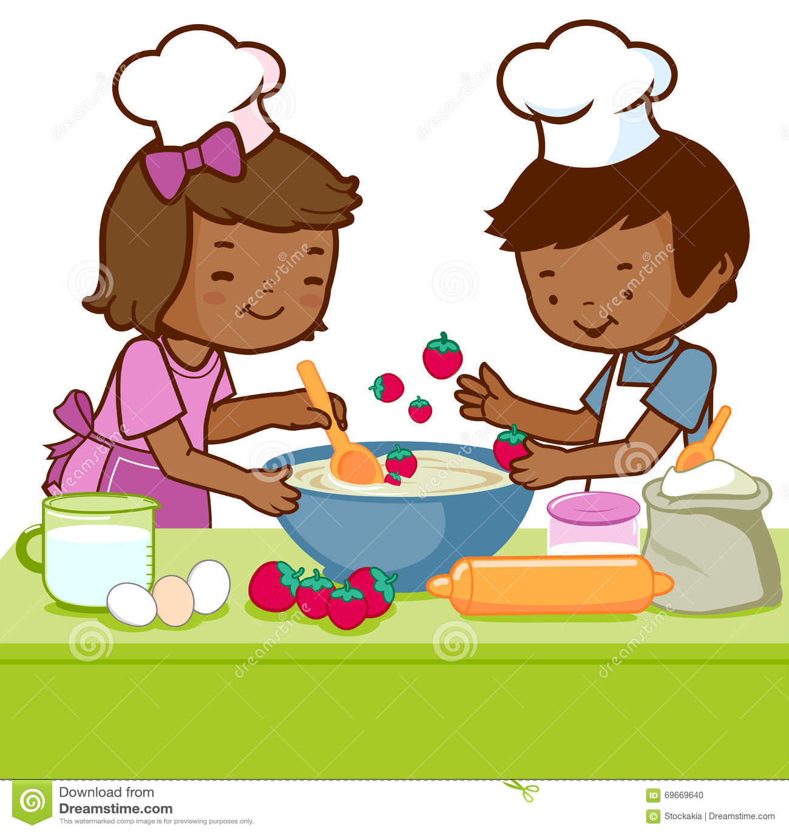 Kitchen Center Clip Art: Children Cooking In The Kitchen Stock Vector