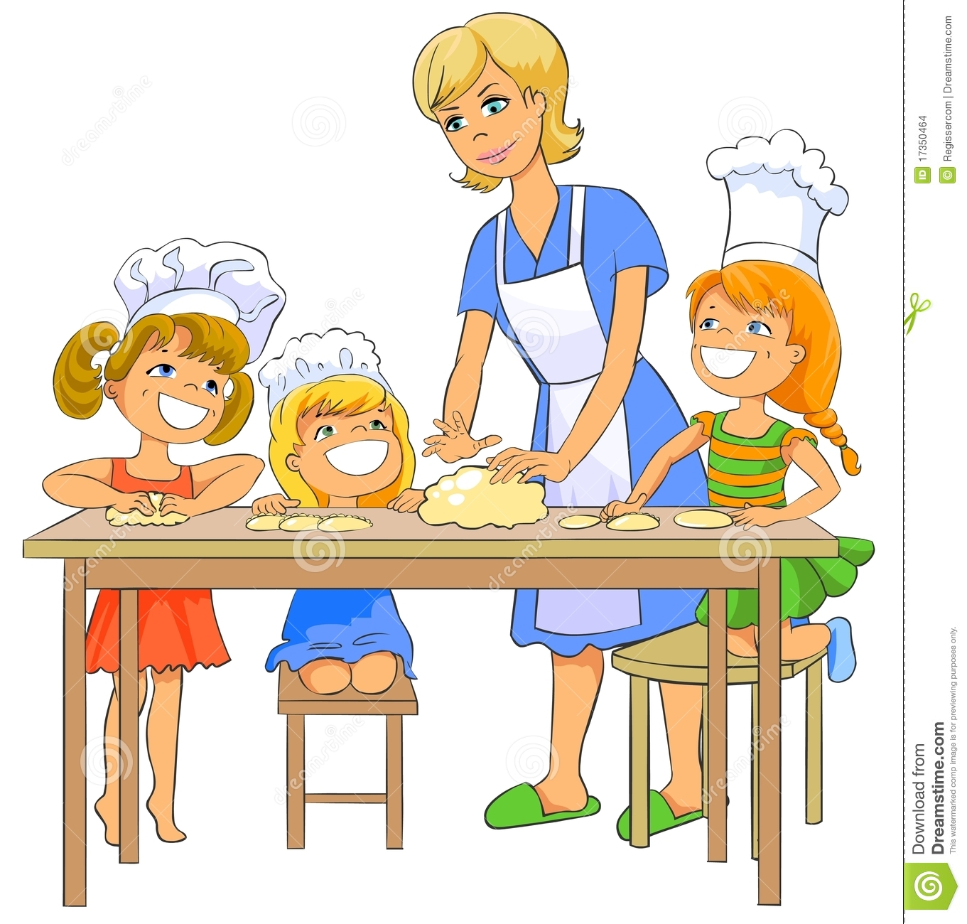 Children Cooking Patty With Mom. Stock Illustration ...