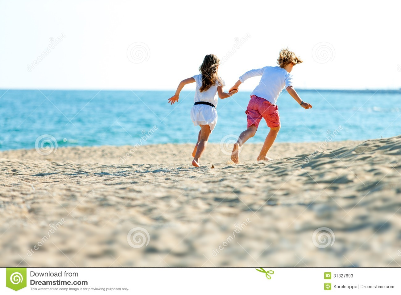 Children Couple Running On Beach
