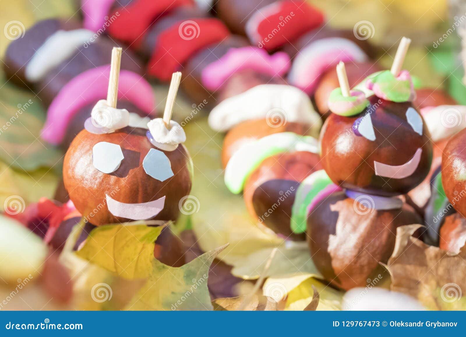 Children crafts chestnut caterpillar