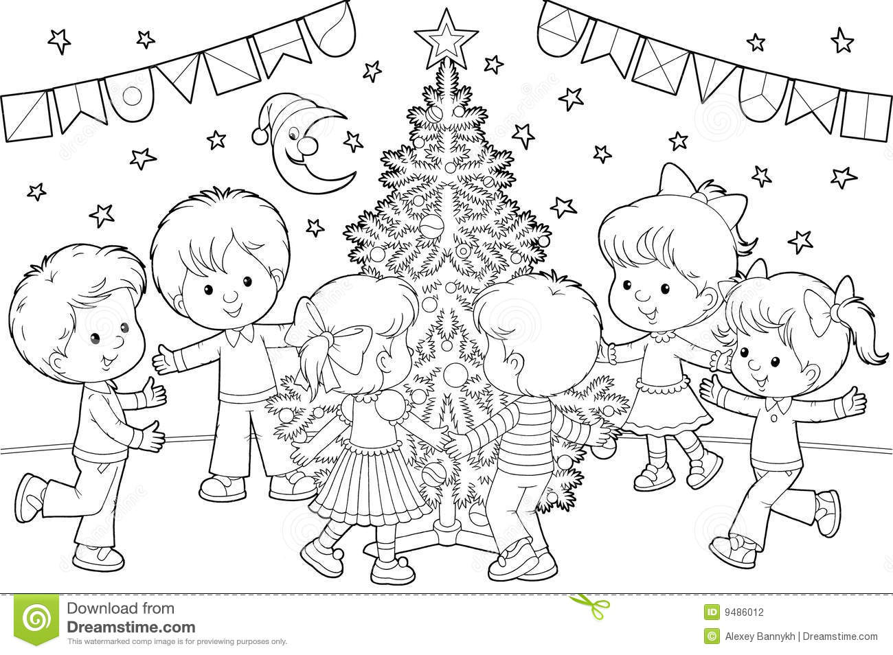 Children Dance Around Christmas Tree Stock Photography - Image ...