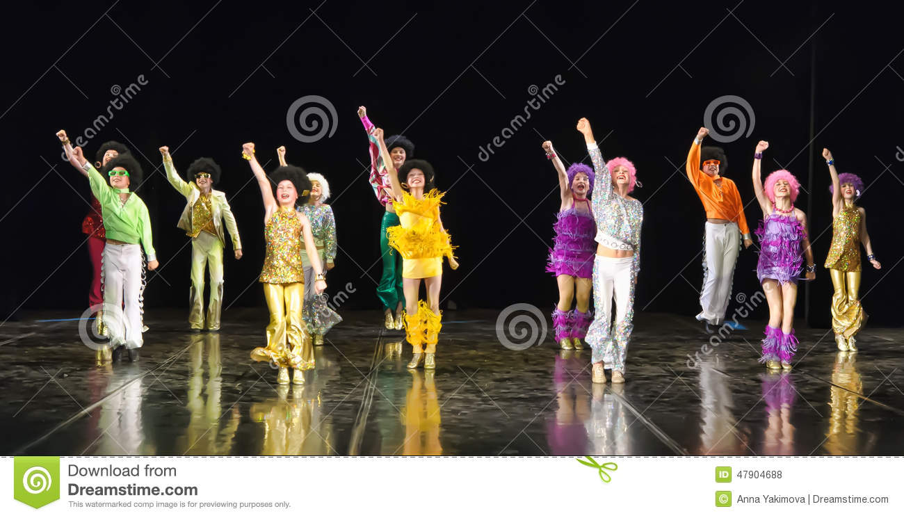children dancing on stage editorial stock photo