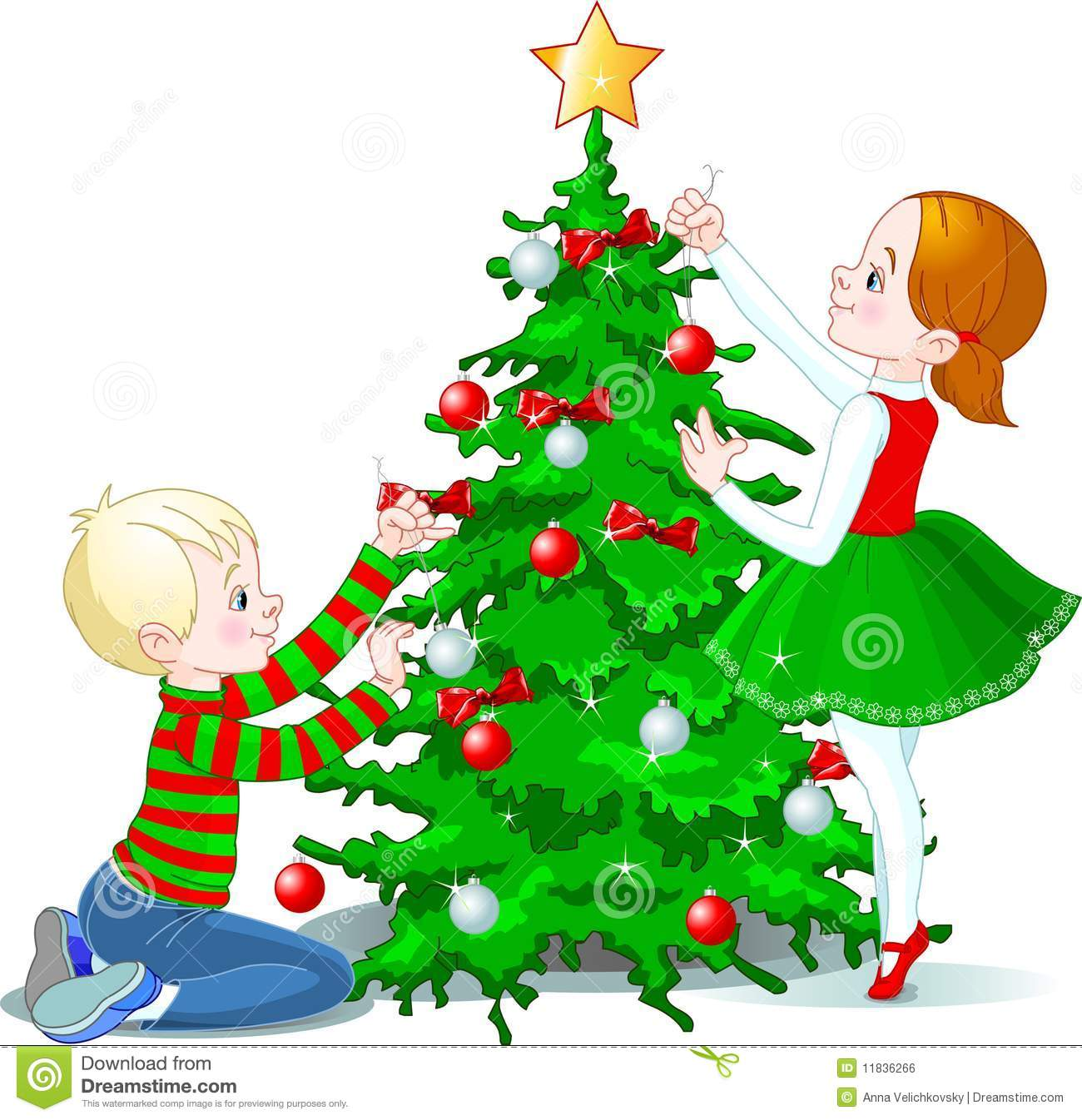 Children Decorate A Christmas Tree Stock Vector Illustration Of