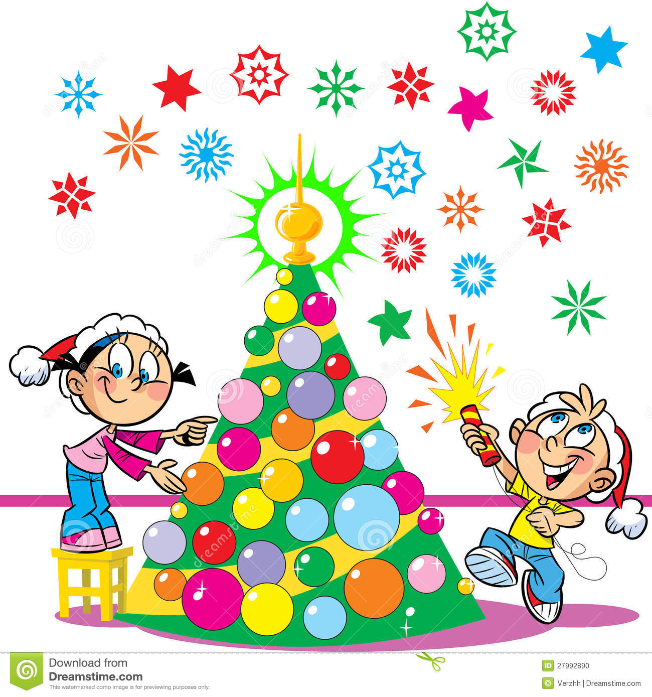 Christmas Children Party: Children Decorate The Christmas Tree Stock Vector