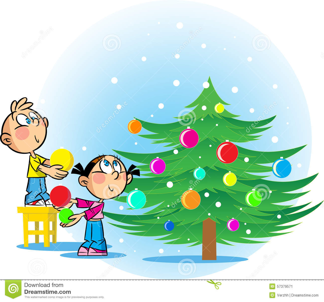 Kids Decorating Christmas Tree: Children Decorate The Christmas Tree Stock Vector