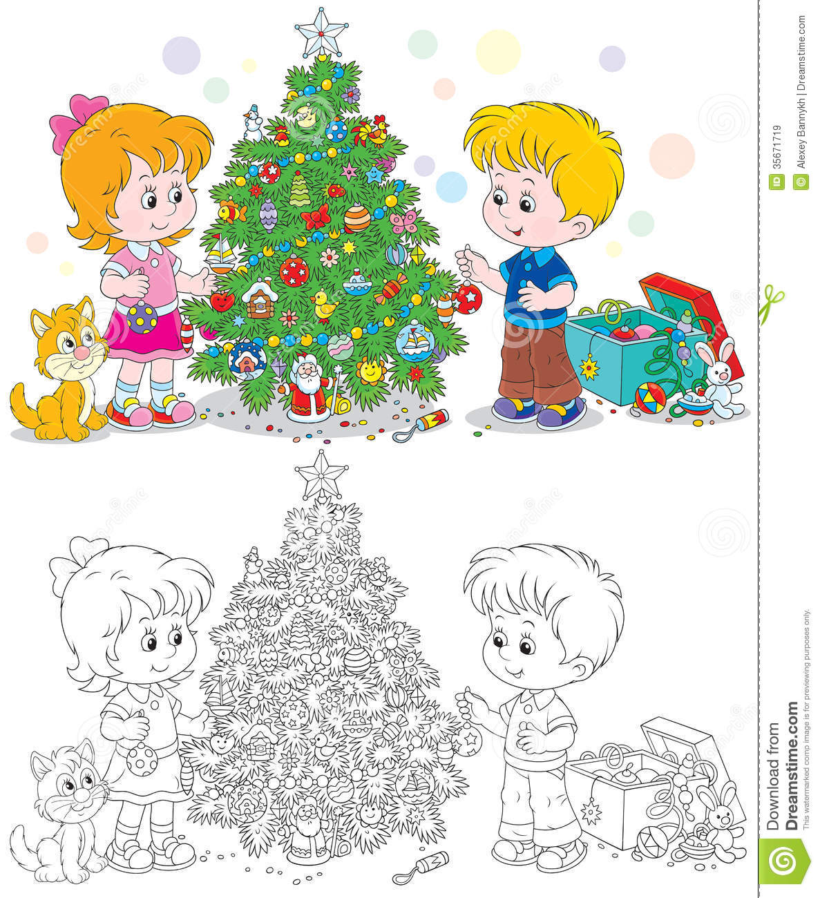 Little Girl Christmas Tree: Children Decorate Christmas Tree Royalty Free Stock Images
