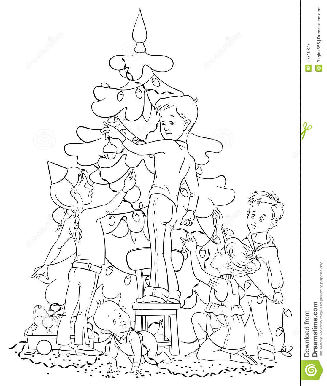 Download Children Decorating A Christmas Tree Stock Vector