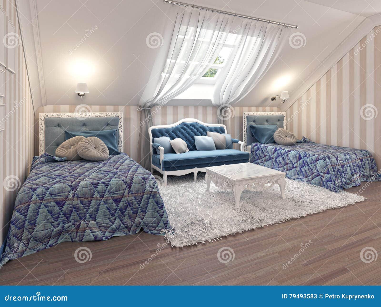 Children di lusso x27 camera da letto di s per due bambini con i letti gemellati illustrazione - Camera letto bambini ...