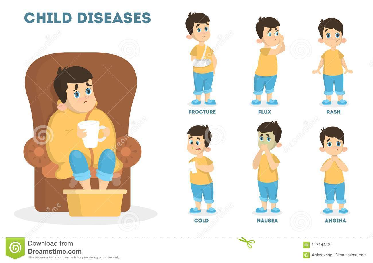 Children Diseases Set Stock Vector Illustration Of Sick 117144321