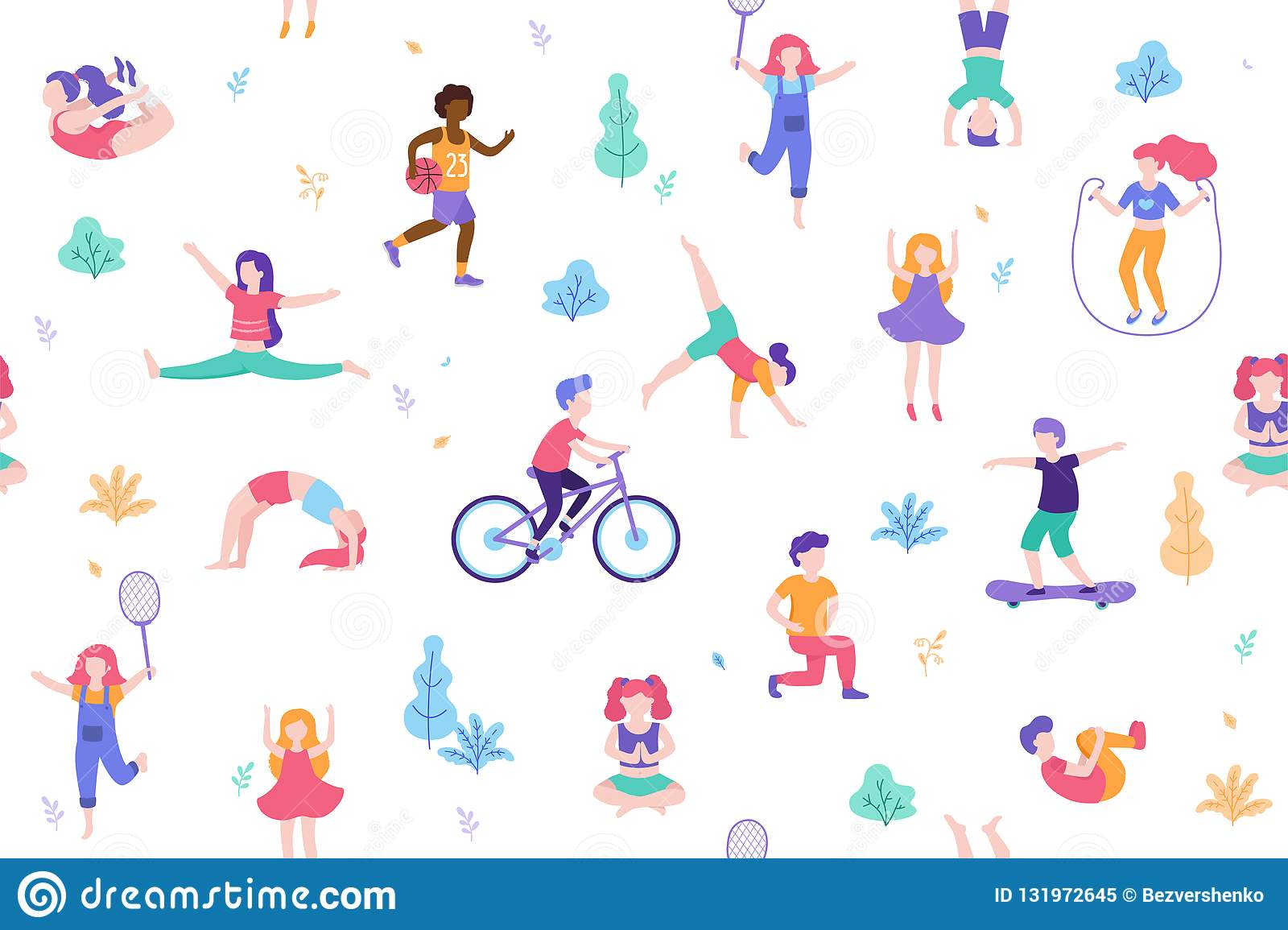 Children Doing Activities And Sports In Flat Design Vector ...