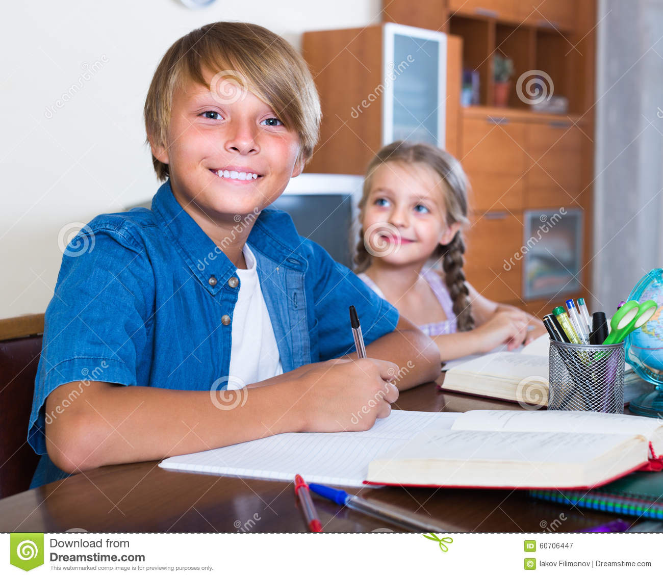 photo of child doing homework