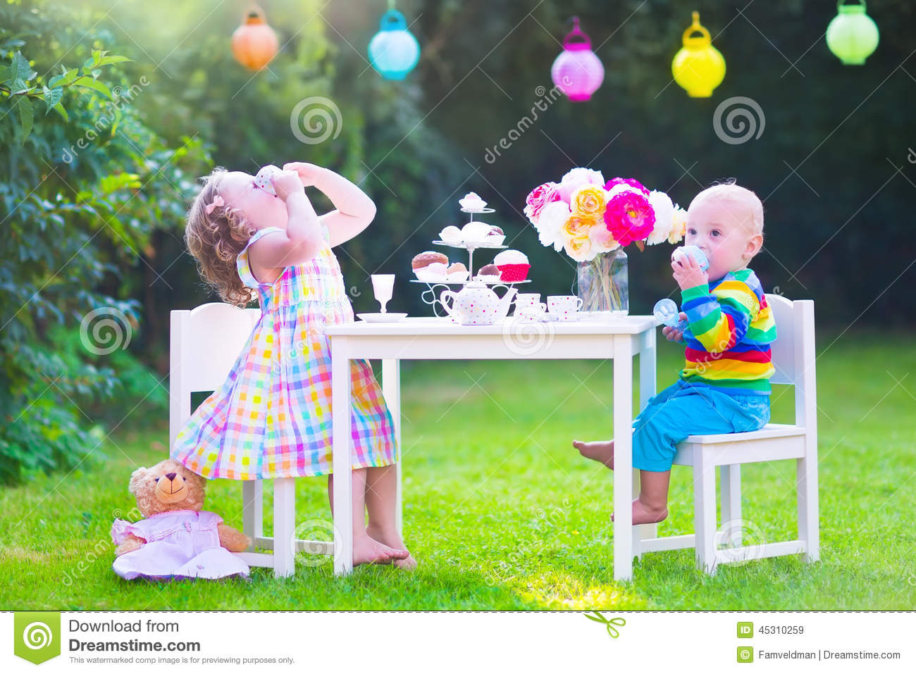 Children At Doll Tea Party Stock Photo Image 45310259