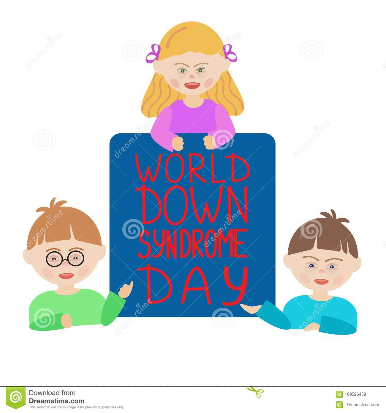 Children with Down syndrome are holding a blue sign that says World Down Syndrome Day.