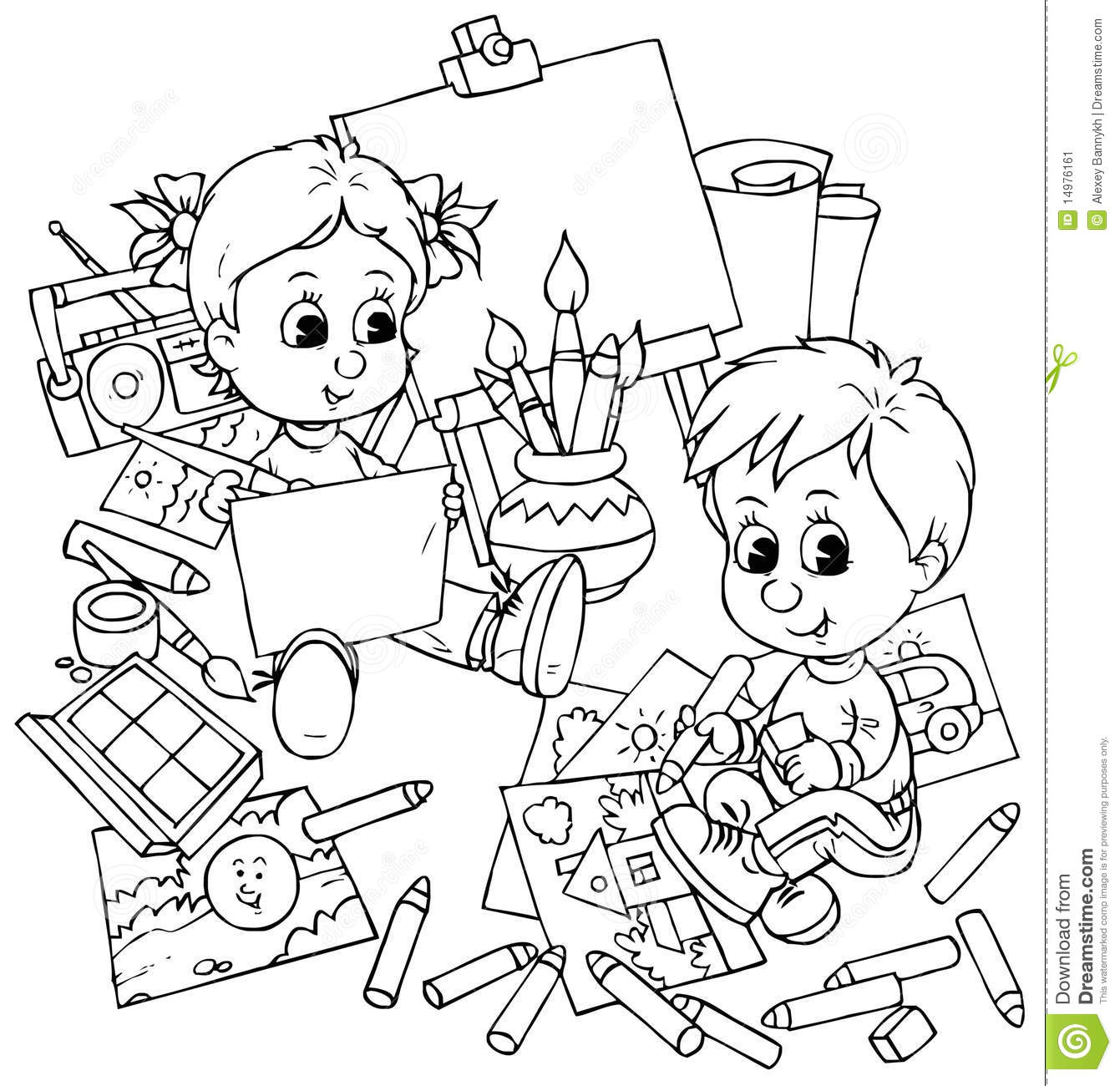 children draw stock illustration illustration of sketch 14976161