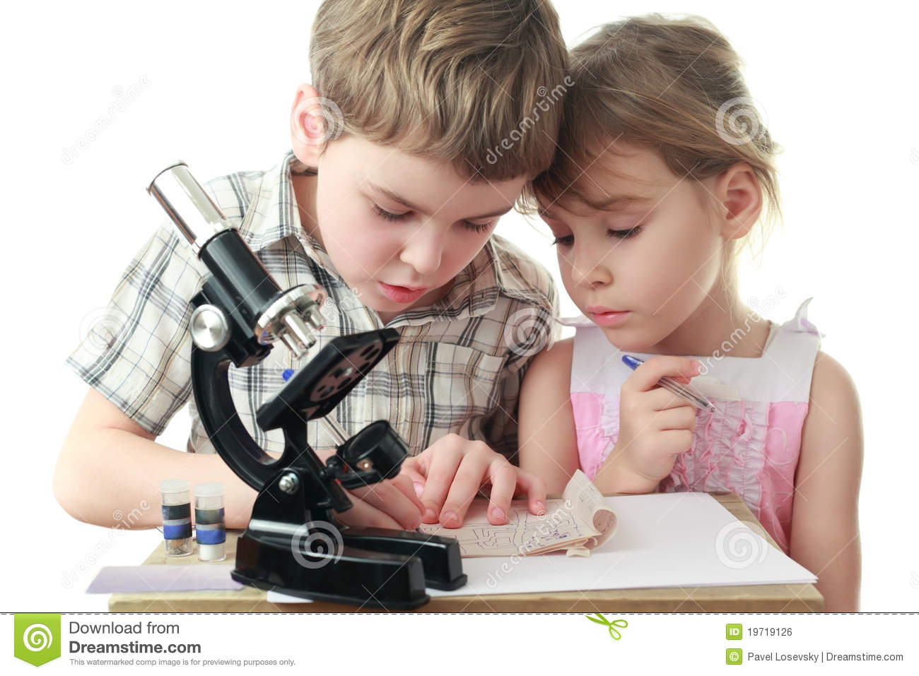 Children draw diagram near microscope stock photo image of chemist children draw diagram near microscope ccuart Image collections