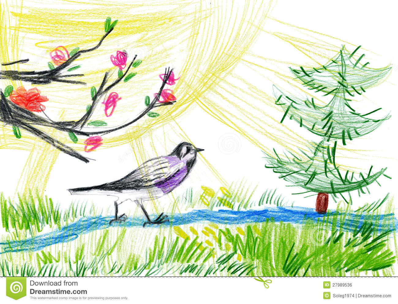 Children Drawing. Birdie In Forest Royalty Free Stock ...