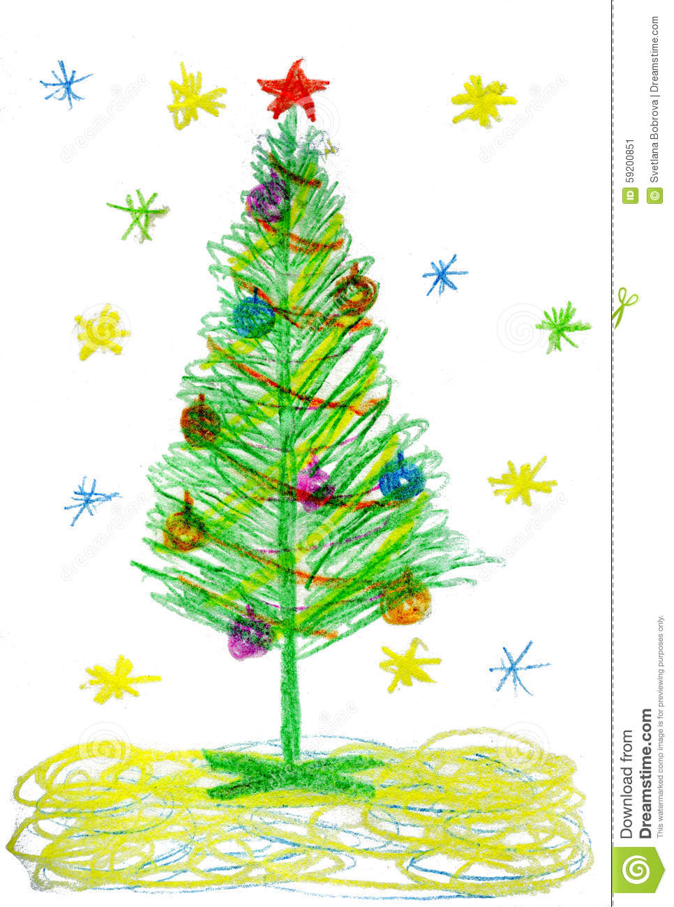 Children Drawing Christmas Tree Stock Illustration - Image: 59200851