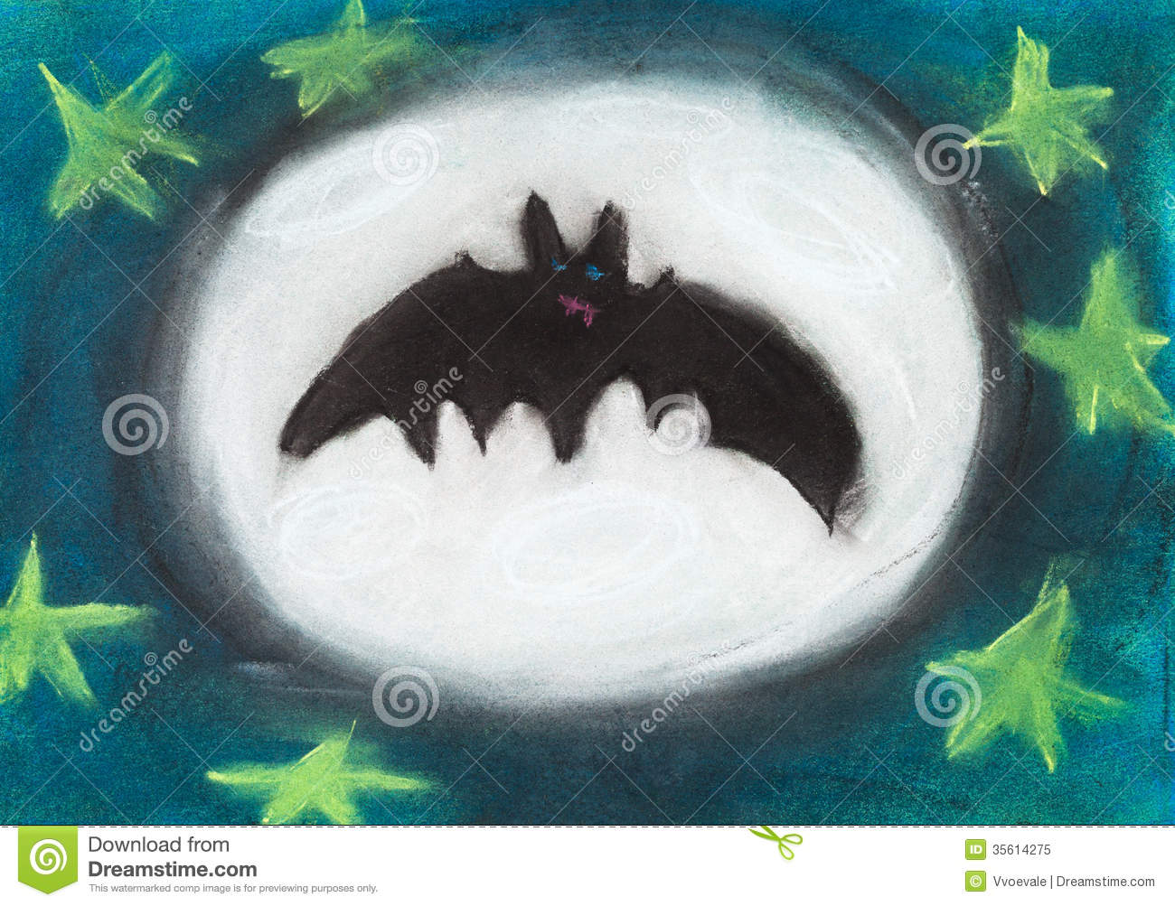 Kids at night with moon royalty free stock photography image - Children Drawing Flying Night Bat Royalty Free Stock Photo