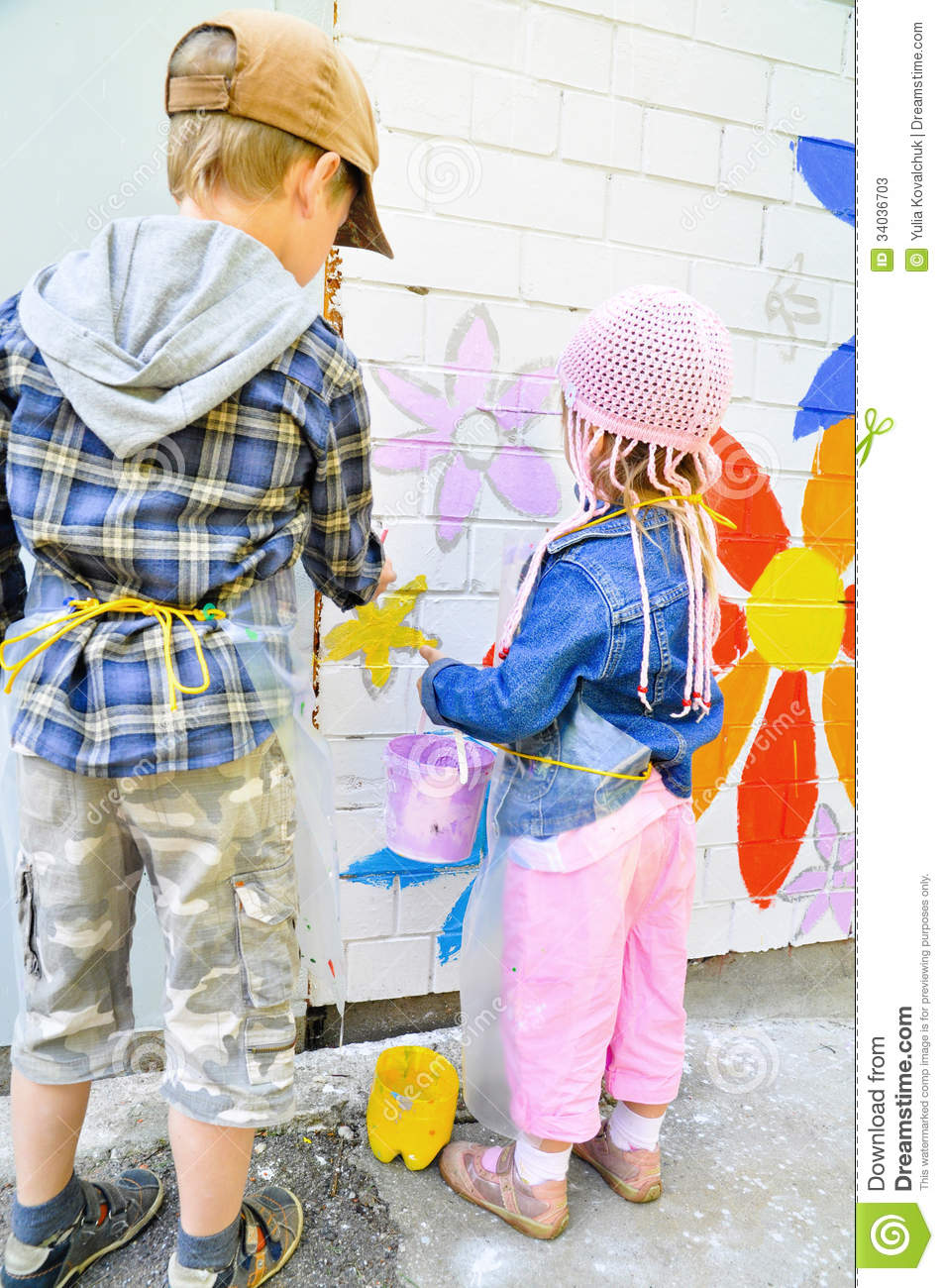 Classroom Painting Ideas ~ Children drawing graffiti stock image of concepts