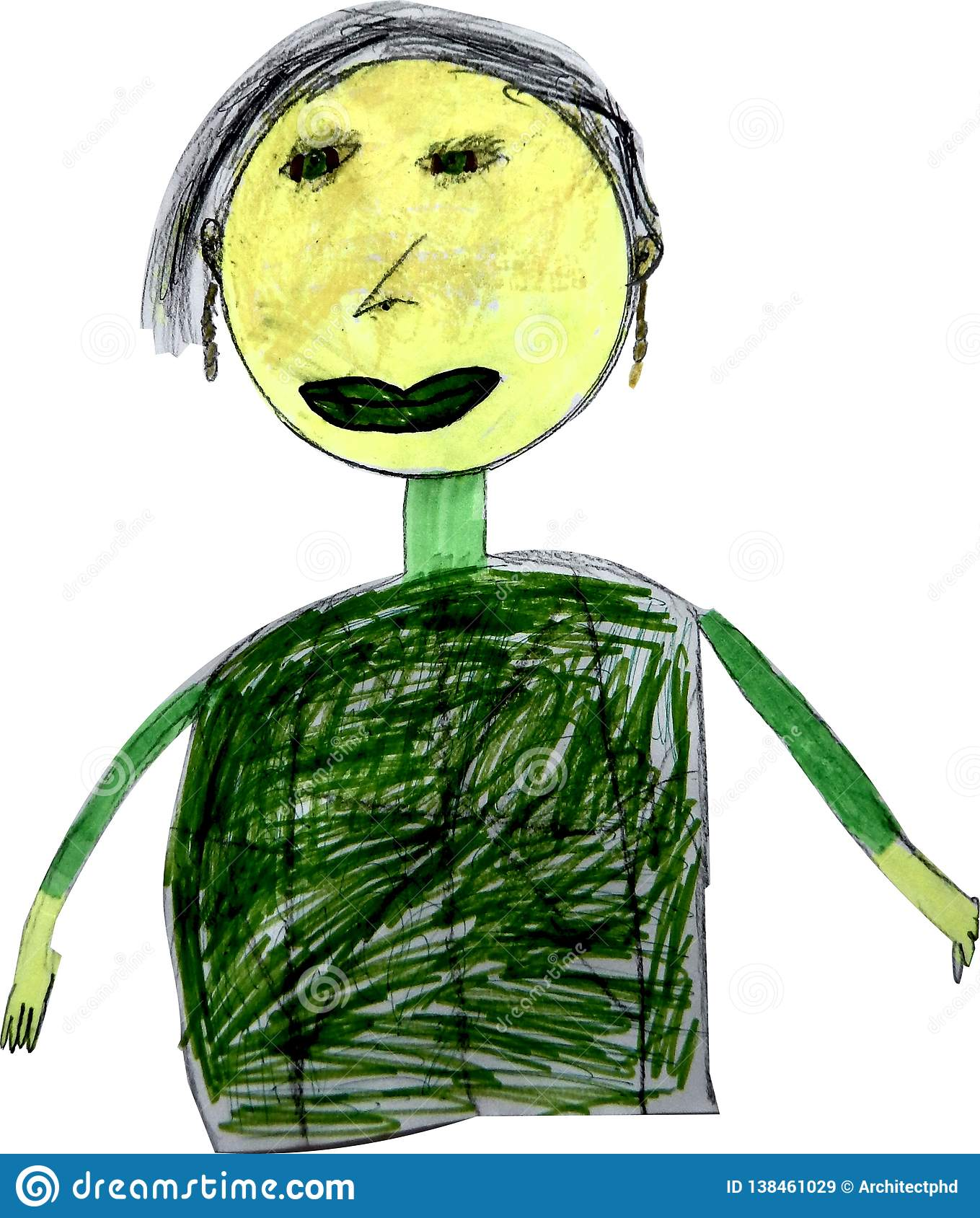 Children drawing of grandmother with felt-tip