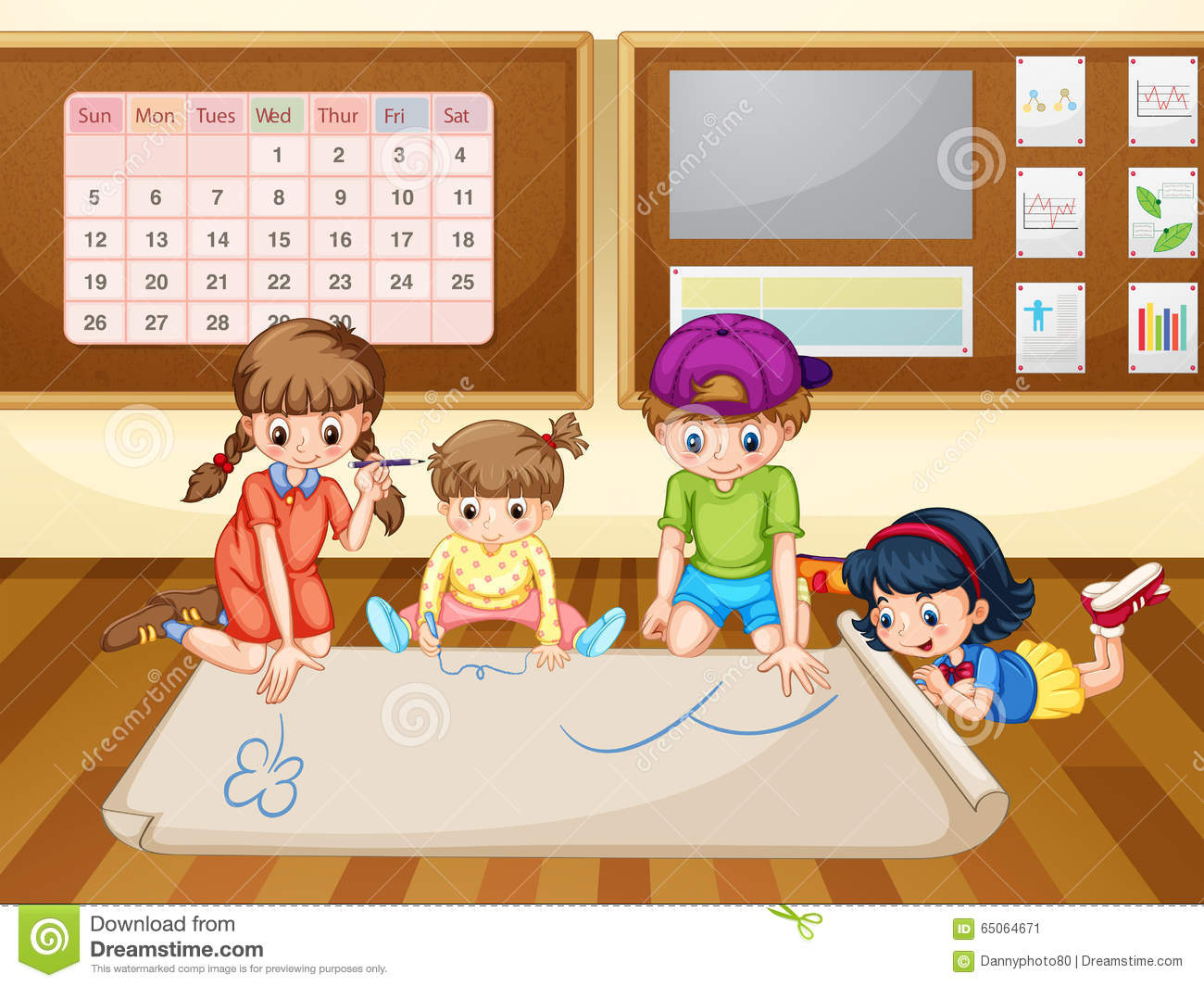 Uncategorized Drawing Of A Classroom children drawing on paper in classroom stock vector image 65064671 royalty free vector