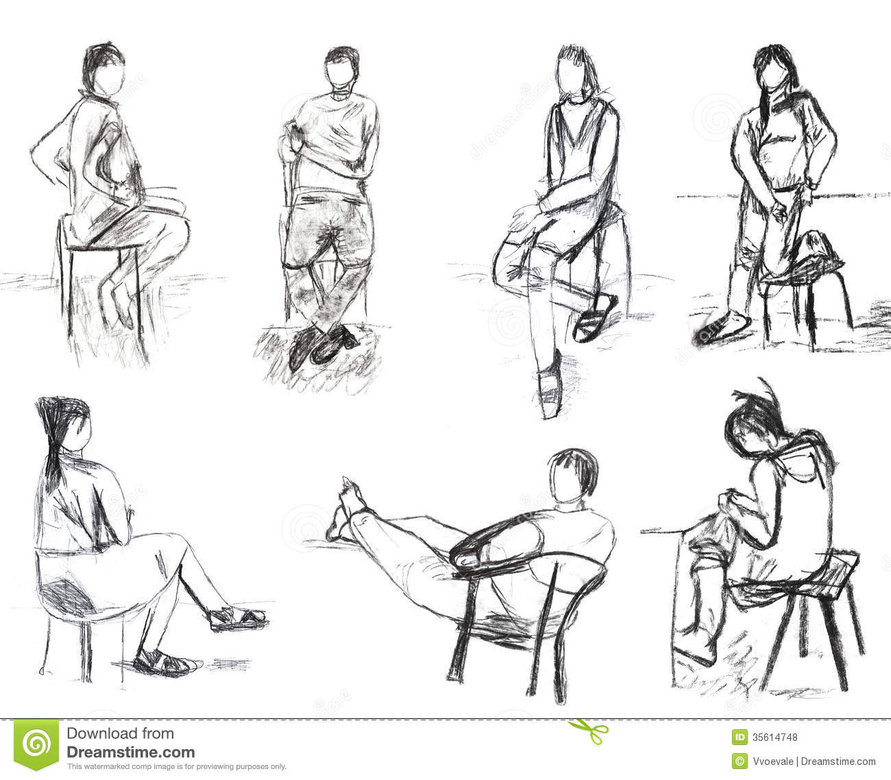 children drawing - sketches of people motion stock photography