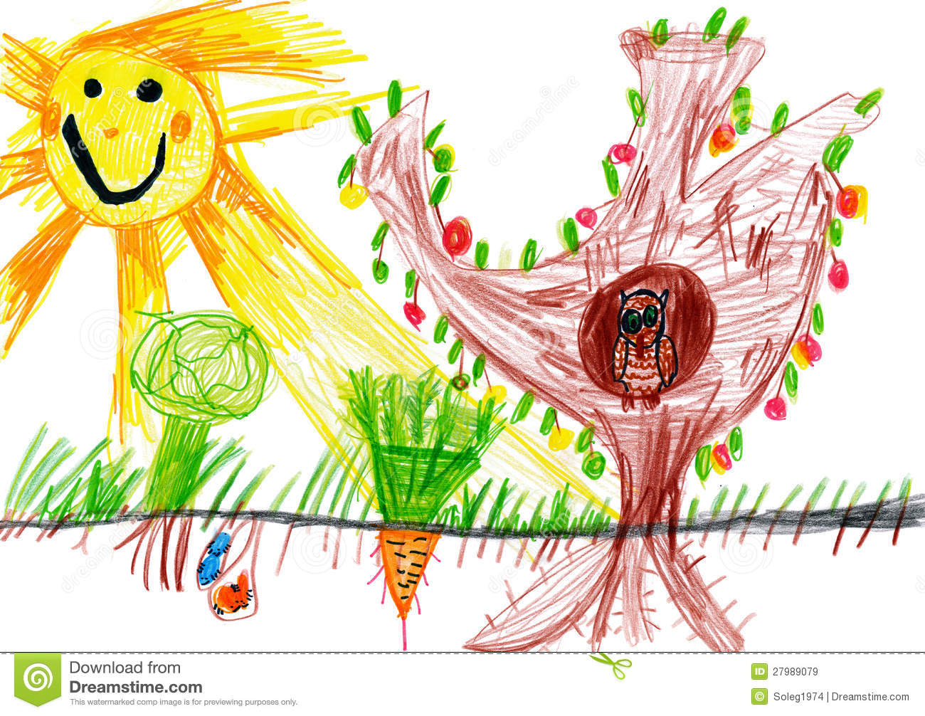 children drawing sunny day and owl royalty free stock images - Children Drawing Images