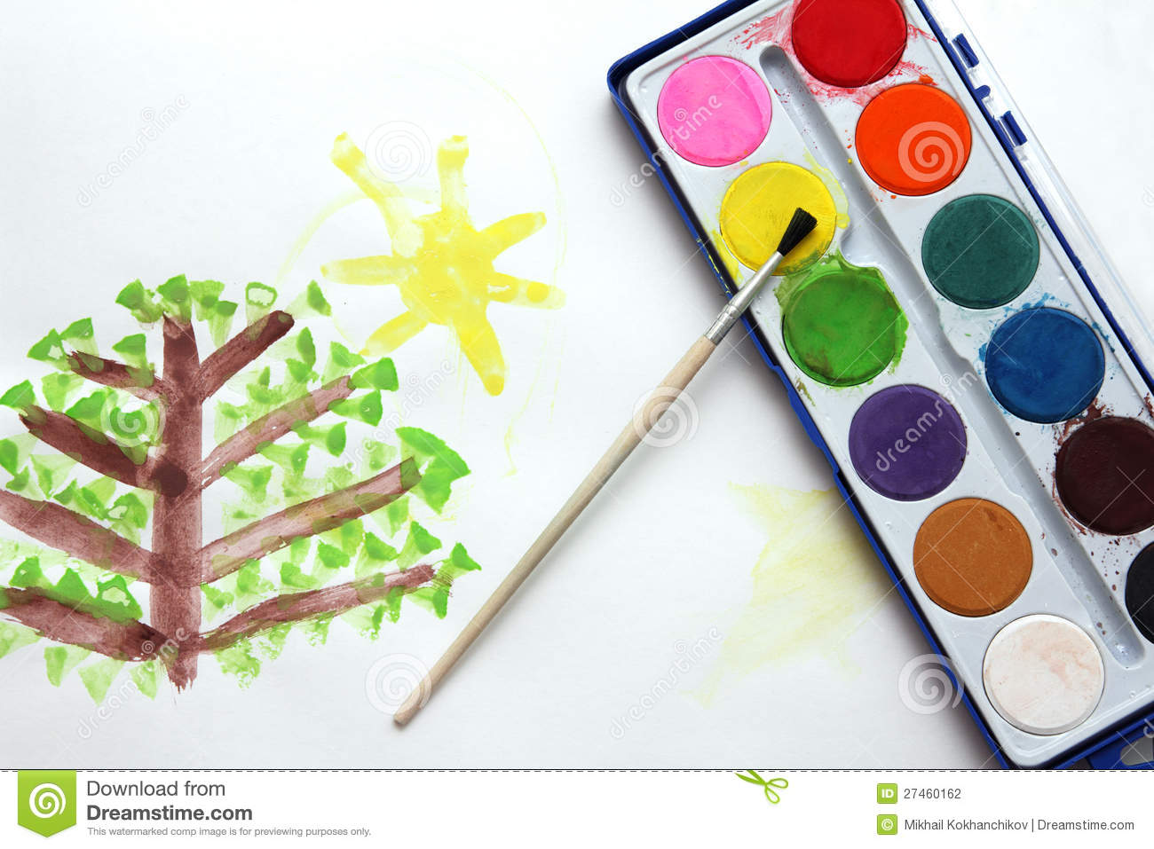 children drawing and watercolor paints stock photography