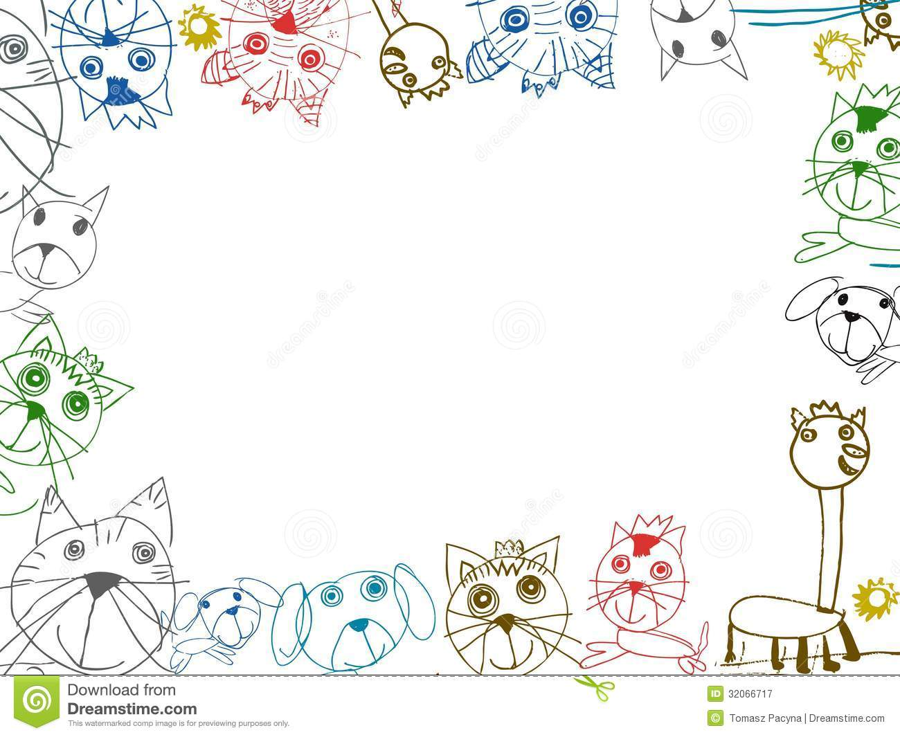 children drawings background frame illustration stock