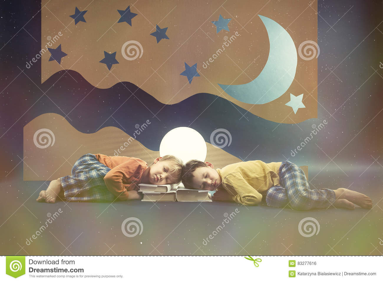 Kids at night with moon royalty free stock photography image - Royalty Free Stock Photo Children Dreaming Moon Night
