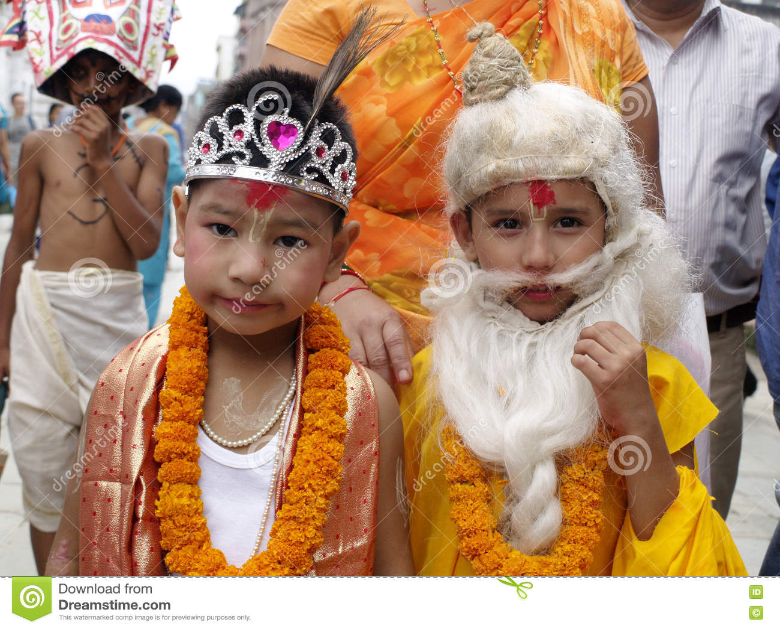 Children dressed as Hindu Gods in Gai Jatra (The festival of Cows)