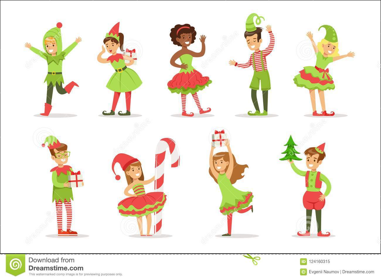 Christmas Carnival Theme Outfit.Children Dressed As Santa Claus Christmas Elves For The