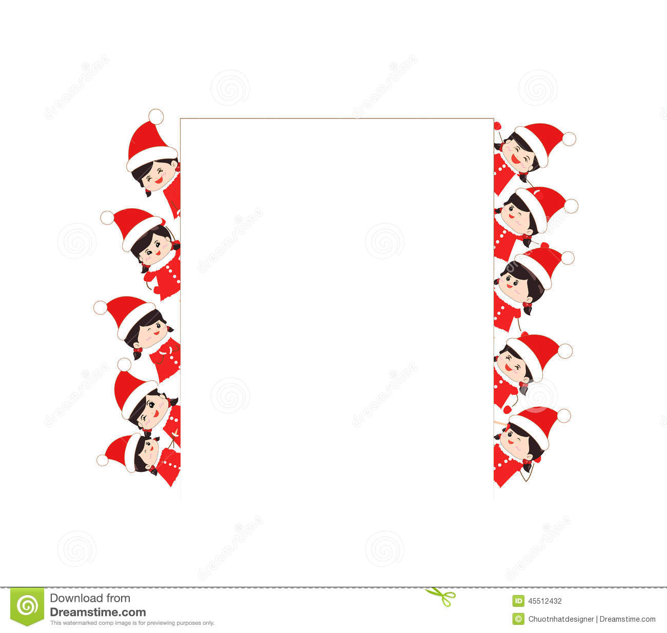 Children Dressed As Santa Claus Kids And Frame Stock Vector ...