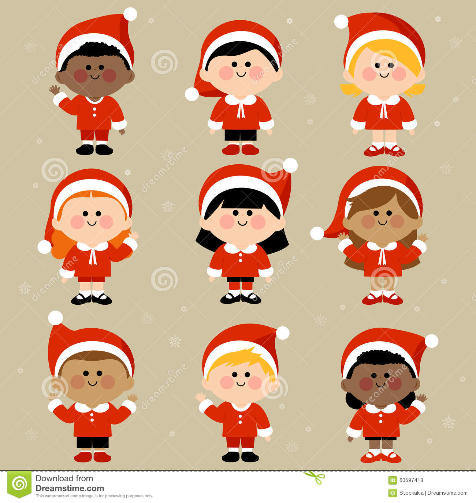 Children Dressed In Christmas Costumes Stock Vector - Illustration ...