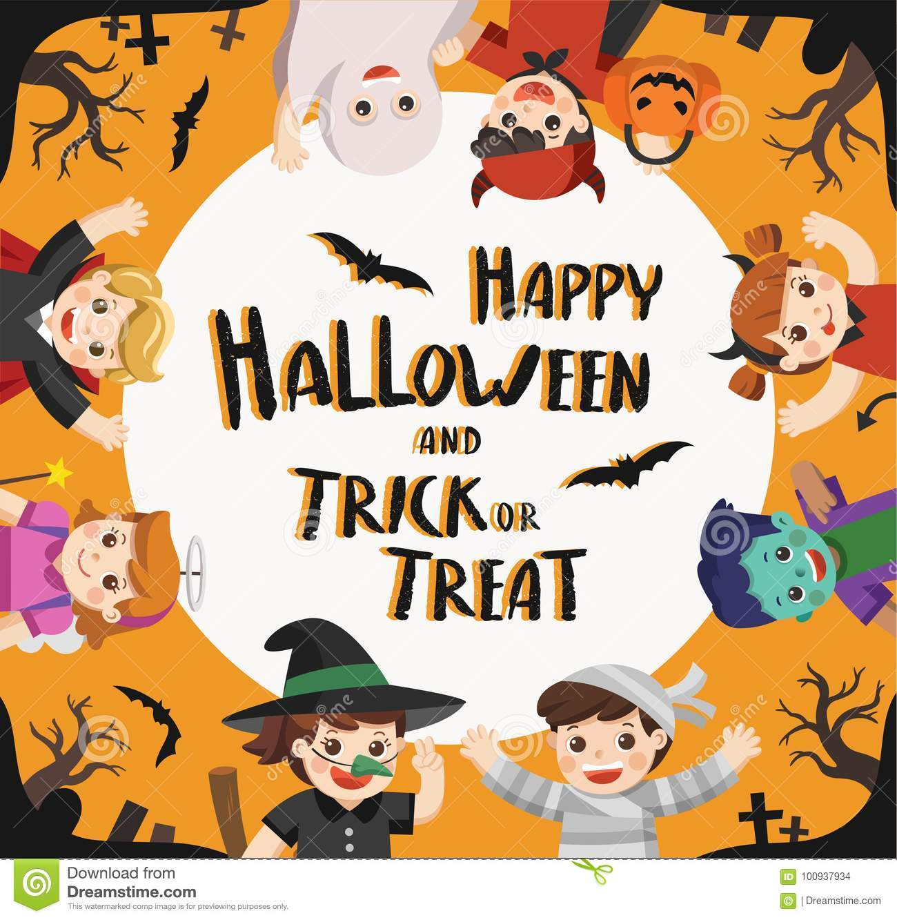 Happy Children In Halloween Party Trick Or Treating Stock Vector -  Illustration of characters, angel: 76617974