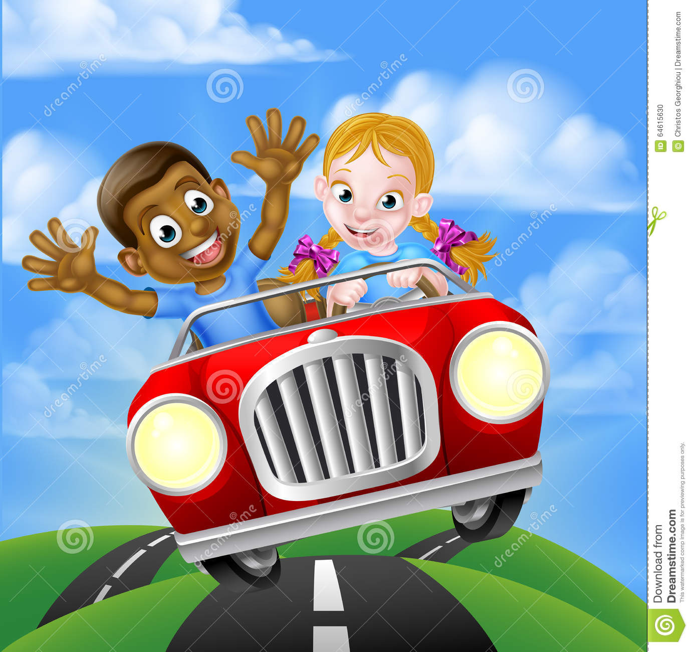 Children Driving Car Stock Vector Image Of Clipart Ethnic 64615630