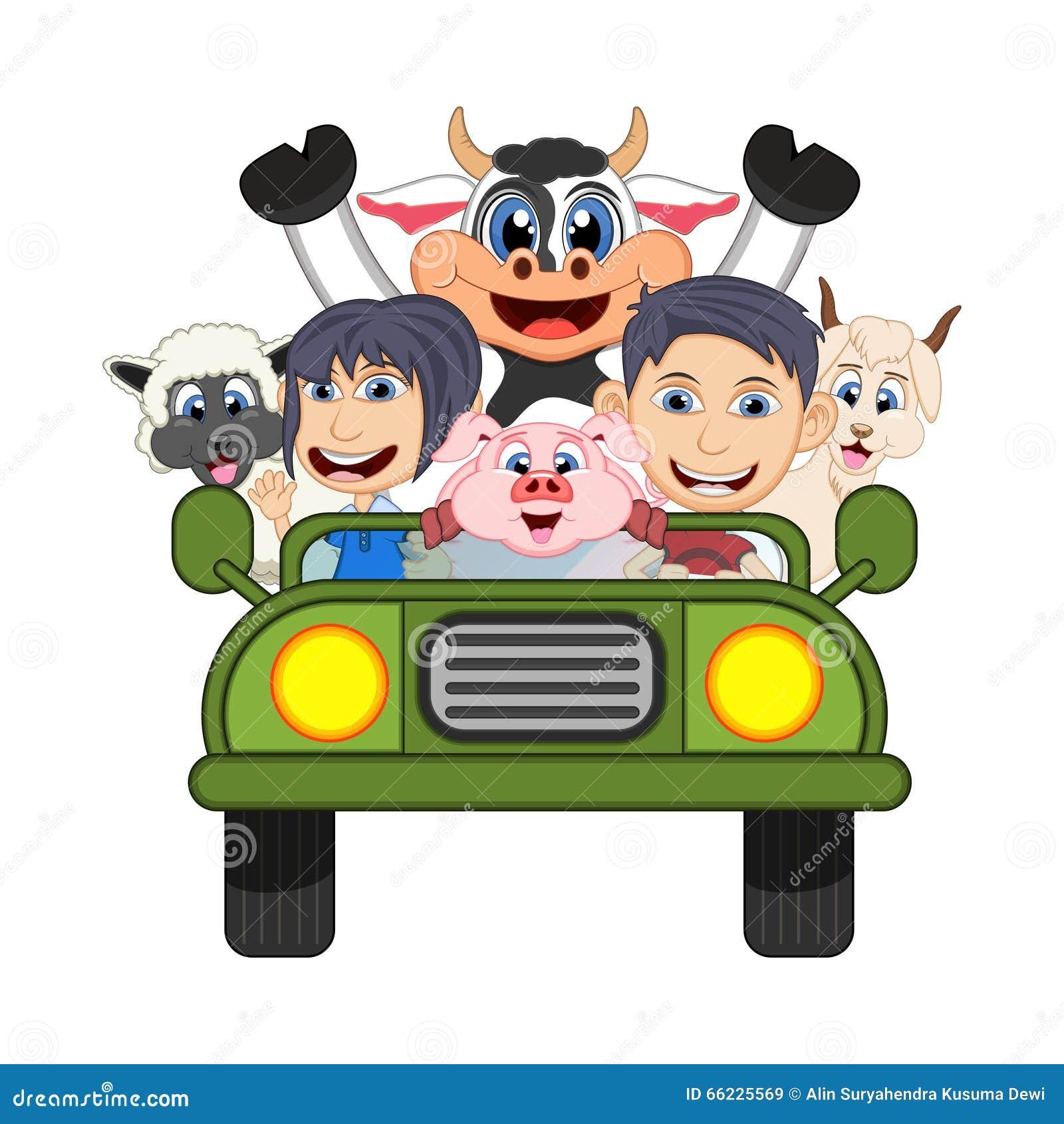 Children Driving Car Cow Goat Sheep Pig Cartoon Vector Illustration Full Color