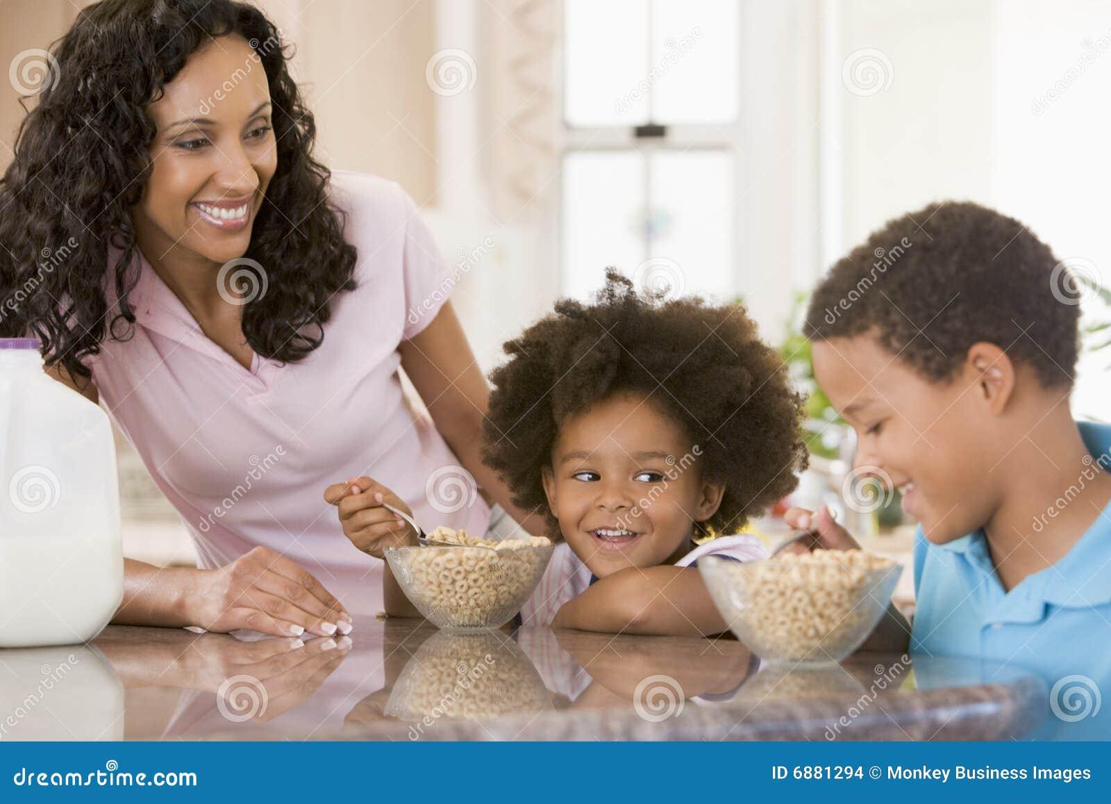 Download Children Eating Breakfast stock photo. Image of indoors - 6881294