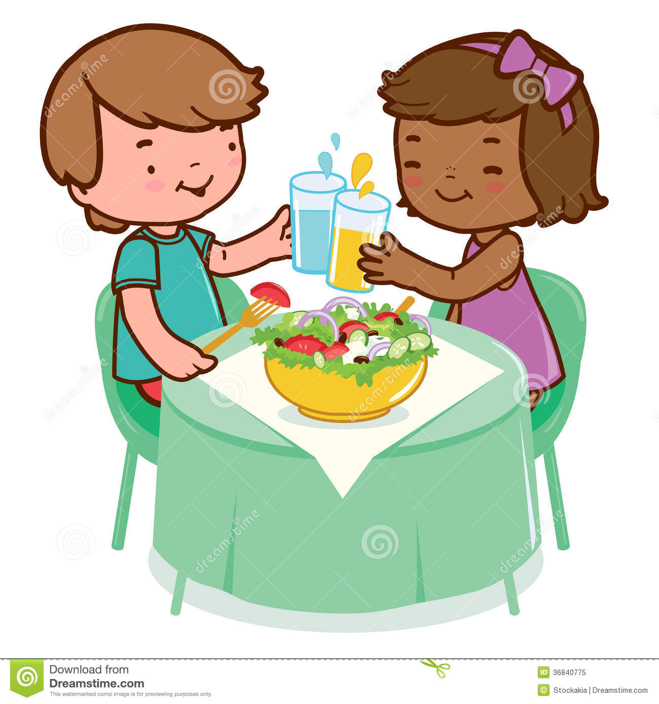 Children Eating Healthy Food Stock Vector Illustration Of Kids Meal 36840775