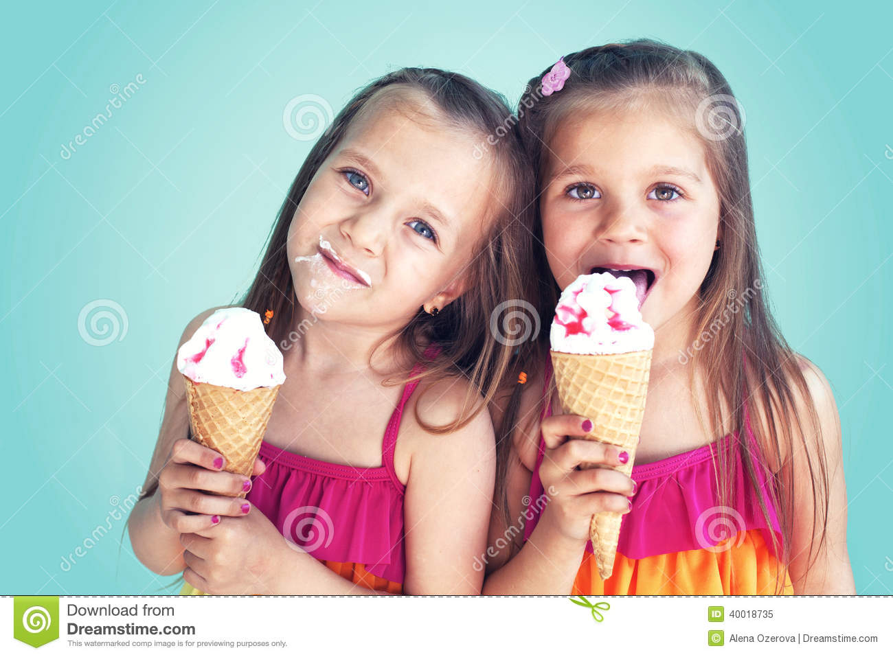 Kid Eating Ice Cream With Friends