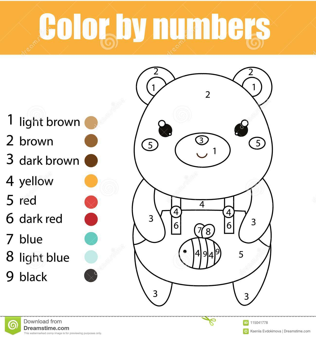 Children Educational Game Coloring Page With Cute Bear Color By